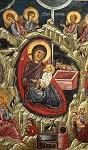 Η γέννηση του Χριστού - Τοιχογραφία στην εκκλησία του Αγίου Νικολάου της Στέγης στο χωριό Κακοπετριά. 14ος αιώνας μ.Χ.