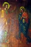 Ο Ευαγγελισμός της Θεοτόκου. Εντός της κοιλίας της Θεοτόκου απεικονίζεται ως έμβρυο ο Χριστός. Η εικόνα βρίσκεται στον Ιερό Προσκυνηματικό Ναό Ευαγγελισμού της Θεοτόκου Ναζαρέτ