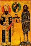O κτήτωρ της Mονής Διονυσίου Aλέξιος Γ' Kομνηνός και ο προστάτης αυτής Iωάννης ο Πρόδρομος - γύρω στα 1375 μ.Χ. - Mονή Διονυσίου, Άγιον Όρος