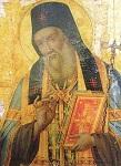 Η αριστουργηματική εφέστια εικόνα του Αγίου Μακαρίου του Νοταρά Αρχιεπισκόπου Κορίνθου στο ομώνυμο παρεκκλήσιο της Ιεράς Μονής Ευαγγελισμού Θεοτόκου Λευκάδος Ικαρίας