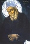 Φορητή εικόνα του Αγίου Μακαρίου του Νοταρά στο καθολικό της Ιεράς Μονής Προφήτου Ηλιού Ύδρας
