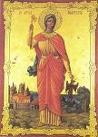 Η παλαιά εφέστια εικόνα της Αγίας Μαρίνας από τον ναόν του Θησείου χωρίς το σφυρήλατο, χρυσό κάλυμμα της