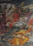 Λεπτομέρεια από τη Σφαγή των Νηπίων - Ιερά Μονή Σταυρονικήτα, Τοιχογραφία Θεοφάνους από το Καθολικό, 16ος αι. μ.Χ.