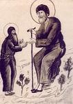 Ο Οσιομάρτυρας Παχώμιος πηγαίνοντας να μαρτυρήσει. (Σχέδιο με σινική μελάνη - 20ος αιώνας μ.Χ.)