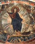 Το Όραμα του Προφήτη Ιεζεκιήλ, ψηφιδωτό στον Όσιο Δαβίδ της Θεσσαλονίκης, β΄μισό 5ου αι. μ.Χ. - Το ψηφιδωτό απεικονίζει το όρομα του Ιεζεκιήλ, με το Χριστό Εμμανουήλ (νεαρό) στο κέντρο να κάθεται σε πολύχρωμο τόξο. Γύρω του εικονίζονται τα σύμβολα των τεσσάρων Ευαγγελιστών και στην αριστερή γωνία ο προφήτης Ιεζεκιήλ στις όχθες του ποταμού Χοβάρ και στη δεξιά ο προφήτης Αββακούμ ή ο Ησαΐας.