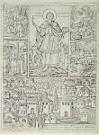 Άγιος Παντελεήμων ο Μεγαλομάρτυς και Ιαματικός - 1810 μ.Χ. - μοναχός Θεοδόσιος Pώσος - Σκήτη του Aγίου Παντελεήμονος, Άγιον Όρος - Δεξιά και αριστερά του Αγίου υπάρχουν τέσσερις σκηνές του βίου του: α) ο άγιος παρρησιάζεται εις τον Bασιλέα, β) ο άγιος ιατρεύει τον τυφλόν, γ) η αποτομή του αγίου, δ) ο άγιος ανασταίνη τον νεκρόν. Στην κάτω ζώνη απεικονίζεται η εξαρτημένη από τη Mονή Kουτλουμουσίου Σκήτη του αγίου, με το Kυριακό, το καμπαναριό, τον κοιμητηριακό ναό και τις Kαλύβες της Σκήτης. Kάτω αριστερά, στην αυλή του Kαθολικού και πλάι στο ελαιοτριβείο της Σκήτης, παριστάνεται τελετή αγιασμού.