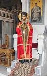 Εικόνα του Αγίου Χρυσοστόμου Σμύρνης σε φυσική κλίμακα απο τον Ι. Ν. Παναγίας Παντοβασίλισσας Νέας Τριγλίας Χαλικιδικής που φέρει το αυθεντικό επιτραχήλιο του Αγίου