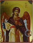 Αρχάγγελος Μιχαήλ - Η φιγούρα του Αρχαγγέλου είναι πλαισιομένη με στοιχεία από βυζαντινό χειρόγραφο του 10ου αιώνα μ.Χ. - Γεωργία Δαμικούκα© (http://www.tempera.gr)