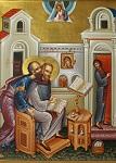 Ο Απόστολος Παύλος υπαγορεύει στον Άγιο Ιωάννη τον Χρυσόστομο την ερμηνεία των επιστολών του. (Κελλί Ροδοστόλου)