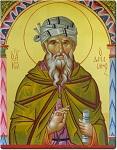 Όσιος Ιωάννης ο Δαμασκηνός - Η μορφή του Αγίου είναι πλαισιωμένη με στοιχεία από Βυζαντινό χειρόγραφο του 10ου αιώνα μ.Χ. - Γεωργία Δαμικούκα© (http://www.tempera.gr)