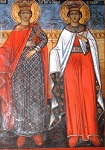 Η Αγία Βαρβάρα και η Αγία Κυριακή (Τοιχογραφία στη Λιθιά Καστοριάς, έτ. 1850 μ.Χ.)