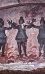 Οι Τρεις Παίδες εν Καμίνω, τοιχογραφία από την Κατακόμβη της Πρισίλλας στη Ρώμη, μέσα 3ου αι. μ.Χ.