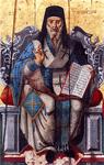 Άγιος Διονύσιος ο Νέος, ο Ζακυνθινός Αρχιεπίσκοπος Αιγίνης. Φορητή εικόνα στο Ναό Αγίου Νικολάου στην Εξωχώρα Ζακύνθου, έργο ιερέως Πέτρου Βόσσου, 1786 μ.Χ.