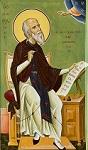 Ο Όσιος Σωφρόνιος ο ησυχαστής και θεολόγος. Φορητή εικόνα δια χειρός Αρχιμ. Αμβροσίου Γκορελώβ (2020 μ.Χ.), φυλασσομένη στο Επισκοπείο της Ιεράς Μητροπόλεως Μόρφου στην Ευρύχου.