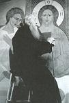 Ο Όσιος Σωφρόνιος του Έσσεξ, ενώ ζωγραφίζει τον Χριστό στον Μυστικό Δείπνο