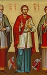 Φορητή εικόνα των Αγίων Γρηγορίου, Θεοδώρου και Λέοντος δια χειρός Χριστίνας Παπαθέου-Δουληγέρη