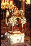 Το περίτεχνο ξυλόγλυπτο κουβούκλιο με την ασημένια λειψανοθήκη των Αγίων Φανέντων στο Ιερό Ναό Κοιμήσεως Θεοτόκου Σάμης