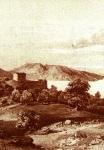 Άποψη της Ιεράς Μονής των Αγίων Φανέντων σε γκραβούρα του 1813 μ.Χ.
