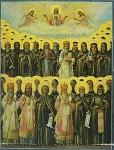Σύναξη των Αγιορειτών Πατέρων - Φορητή εικόνα Ιεράς Μονής Αγίου Παύλου (αρχές 20ου αιώνα μ.Χ.)