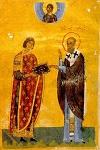 Λόγοι Γρηγορίου του Θεολόγου - Η μικρογραφία παριστάνει τον κτήτορά του, νεαρό ευγενή ή αξιωματούχο να δέχεται τον κώδικα από τον άγιο Γρηγόριο, που είναι ντυμένος με επισκοπικά άμφια - 11ος - 12ος αι. μ.Χ. - Mονή Διονυσίου, Άγιον Όρος