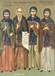 Όσιος Ξενοφών μετά της συμβίου του Μαρίας και των τέκνων Αρκαδίου και Ιωάννη
