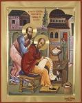 Ο Απόστολος Παύλος υπαγορεύει στον Άγιο Ιωάννη τον Χρυσόστομο την ερμηνεία των επιστολών του. Εικόνα του αγιογραφείου της Ιεράς Μεγίστης Μονής Βατοπαιδίου.