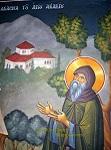 Όσιος Ακάκιος ο Νέος, ο Καυσοκαλυβίτης - Τοιχογραφία Ι. Ν. Ευαγγελιστρίας Περισσού