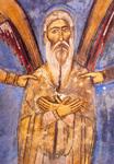 Όσιος Νεόφυτος ο έγκλειστος που ασκήτευσε στην Κύπρο. Τοιχογραφία του 1193 μ.Χ. (λεπτομέρεια παραστάσεως)