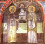Οι κτίτορες της Ιεράς Μονής Μεγάλου Μετεώρου, Μετέωρα, όσιος Αθανάσιος και όσιος Ιωάσαφ. Τοιχογραφία στο νάρθηκα του καθολικού.