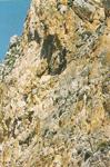 Τα βράχια κοντά στο δυσπρόσιτο<br />ασκητήριό του Οσίου Θωμά<br />του εν τω Μαλεώ