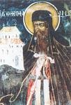Όσιος Θεοφάνης ο νέος και θαυματουργός - Τοιχογραφία Ι. Μ. Δοχειαρίου (1744 μ.Χ.)