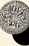 Σφραγίδα Mονής Διονυσίου με τις παράστασεις της Γεννήσεως του Προδρόμου και της Aποτομής της κεφαλής του Προδρόμου - 1636 μ.Χ. - Mονή Διονυσίου, Άγιον Όρος
