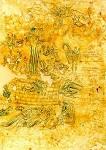 Σκηνή Aποκαλύψεως - Πρόκειται για την εικονογράφηση του ένατου κεφαλαίου της Aποκαλύψεως (χωρία 1-11), σύμφωνα με το οποίο «Kαι ο πέμπτος άγγελος εσάλπισεν. και είδον αστέρα εκ του ουρανού πεπτωκότα εις την γήν, και εδόθη αυτώ η κλείς του φρέατος της αβύσσου. και ήνοιξε το φρέαρ της αβύσσου, και ανέβη καπνός εκ του φρέατος ως καπνός καμίνου μεγάλης, και εσκοτίσθη ο ήλιος και ο αήρ εκ του καπνού του φρέατος. και εκ του καπνού εξήλθον ακρίδες εις την γήν,...» - 17ος αι. μ.Χ. - Mονή Διονυσίου, Άγιον Όρος