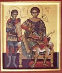 Ο Άγιος Δημήτριος μαζί με τον Άγιο Νέστωρ
