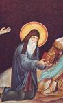 Ο Άγιος Αρσένιος ο Καππαδόκης επαναφέρει το Αγίασμα - Τοιχιγραφία της Τραπέζης του Ιερού Ησυχαστηρίου στη Σουρωτή
